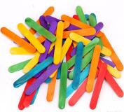 11cm Long Coloured Wood Kids DIY Crafts Sticks 100 Pcs Popsicle Ice Cream Wooden Sticks