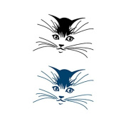 Set of 5 Waterproof Temporary Fake Tattoo Stickers Cute Black Blue Cat Head