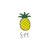 Set of 5 Waterproof Temporary Fake Tattoo Stickers Cute Yellow Pineapple Fruit Cartoon