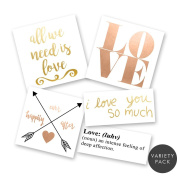 LOVE IS IN THE AIR VARIETY PACK Flash Tattoos set of 25 assorted premium waterproof metallic gold, silver, white, rose gold jewellery temporary foil party tattoos - party supplies