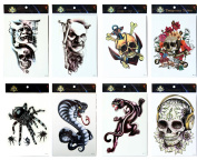 Grashine tattoo 8pcs mixes Halloween long last and realistic temp tattoo stickers in 1 packages,including spiders,snake terrible skulls,skull with flowers and leopard tattoos