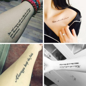 TAFLY Sexy Fake Tattoo Arm Wrist For Men & Women Feather Black Ink English Word Letter Tatoo Body Back Art Temporary Tattoo Sticker 8 Sheets