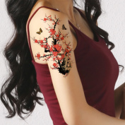 TAFLY Large Temporary Tattoo Plum Blossom and Butterfly Fake Tattoo Women Body Tattoos Sexy 5 Sheets