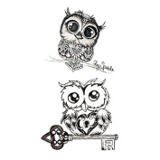 Set of 5 Waterproof Temporary Fake Tattoo Stickers Classic Grey Night Owls Animals Cartoon Design Kids Child
