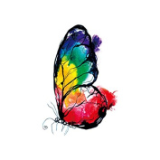 Set of 5 Waterproof Temporary Fake Tattoo Stickers Red Yellow Green Purple Butterfly Oil Painting