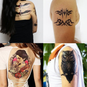GIFT!Tastto 4 Sheets Temporary Tattoos of Tribal Swirls,Owl,Women & Wolf,Eagle with Gift