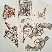 070FC 6-Sheet Temporary 3d Tattoos Compass Gun Hourglass Pattern Tattoo Sticker for Men Women Waterproof Body Art Makeup Fake Tattoo