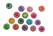 India Crafts 4 Packs - 64 Colourful Crystal Bindi Velvette round face jewels Tika