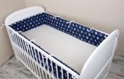 Cot bumper with Nest Head Guard Bumper 420x30 cm 360X30 CM 180x30 cm Cot Bumper Anchor Cot Bumper Bed Large Blue