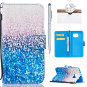 Samsung Galaxy S6 Case,Book Case for Samsung Galaxy S6,Felfy Design Samsung Galaxy S6 Luxury Flip Folding Magnetic Closure Style Case Soft Slim PU Premium Leather Wallet Holster with Card Slots Pink Emboss Butterfly Flower Design Protective Stand Case ..