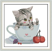 CaptainCrafts New Cross Stitch Kits Patterns Embroidery Kit - The Cat In The Cup