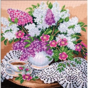 Collection D'Art Stamped Cross Stitch Kit 41X41cm-Lilac's In Vase