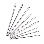 ULTNICE 9pcs Big Eye Needle Large Blunt Needle Steel Yarn Knitting Needles Sewing Needle