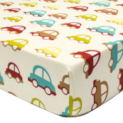 Car Transportation Themed Fitted Crib Sheet - 100% Cotton
