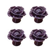 PYD 4PCS Room Kitchen Drawer Knob Handle Rose Flower Ceramic Dresser Cabinet Cupboard Wardrobe Pulls Furniture Decor