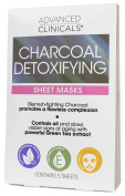 Advanced Clinicals Charcoal Sheet Mask for face with Hyaluronic Acid, Green Tea and Vitamin E. Detoxifying sheet mask Made in Korea. 5 per box.