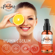 Vitamin C Serum For Face – 60ml – With Vitamin C & E, Hyaluronic Acid, And Aloe Vera. Fades Sun Spots, Brightens Skin, Shrinks Pores, Fights Pre Mature Ageing, & Clears Acne. Organic & Cruelty Free