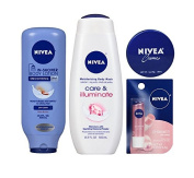 Nivea In-Shower Body Lotion, Body Wash, Creme & Lip Care Bundle