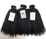 Marley Bulk Braiding Kinky Twist Braiding Hair 3 Packs Bundle Colour 1B Black, 46cm