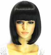 TLT Short Straight Bob Hair Wigs with Flat Bangs Black Synthetic Heat Resistant Wig Natural As Real Hair A-BU110BK
