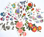 10pcs/package hot selling temporary tattoo stickers various designs including red roses/blue roses/black roses/colourful flowers and butterflies/black flowers/peony/etc.
