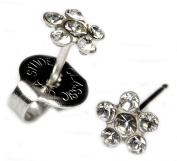 Ear Piercing Earrings Clear Crystal Daisy Flower Silver Studs Studex System 75