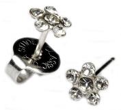 Ear Piercing Earrings Clear Crystal Daisy Flower Silver Studs Studex System 75