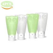 VelPal Travel Bottles Silicone, Travel Kit, Leak Proof, BPA Free, TSA Approved, Set of 4 PCS with Clear Toiletry bag, 3 fl oz/83ml Owl Container for Shampoo/Conditioner/Lotion/Honey/Toiletries