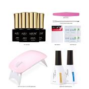Azure Beauty,4Pcs7ml Gel Nail Polish Sparkle Four Kinds Of Colour Glitter Square Bottle Collect Set 6W UV Lamp 12ml Top & Base Coat