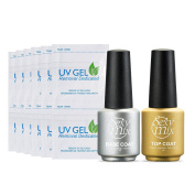 Sexy Mix 7ml Soak Off UV LED Light Gel Nail Polish - Base and No Wipe Top Coat Kit 100Pcs Nail Remover Set
