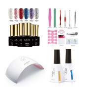 Azure Beauty,6Pcs7ml Gel Nail Polish Sparkle Six Kinds Of Colour Glitter Square Black Bottle Collect Set 24W UV Lamp 12ml Top & Base Coat