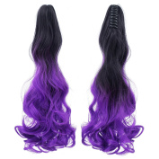 SWACC Long Curly Ombre Colour Claw Clip Ponytail Extension Synthetic Clip in Ponytail Hairpiece Jaw Clip Hair Extensions