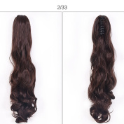 38cm Dual Use Curly Styled Clip in Claw Ponytail Hair Extension Synthetic Hairpiece 130g with a jaw/claw clip