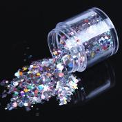 ECBASKET Hottest Fashion Multi Colour Glizty Nail Powder Dust DIY Nail Glitter Slices, Heart/Star/Hexagon/Square