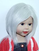 Handmade Grey White 28cm - 30cm fabric fur Wigs hair for 46cm American Girl Dolls