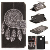 For Huawei P10 Lite Case [with Free Screen Protector], Qimmortal(TM) Magnetic Flip Book Style Cover Case ,High Quality Classic Colourful Cool Pattern Design Premium PU Leather Stand Function Folding Magnetic Credit Card Holders Case Cover For Huawei P1 ..