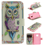 For Moto G5 Case [with Free Screen Protector], Qimmortal(TM) Magnetic Flip Book Style Cover Case ,High Quality Classic Colourful Cool Pattern Design Premium PU Leather Stand Function Folding Magnetic Credit Card Holders Case Cover For Moto G5