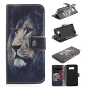 For Samsung Galaxy S8 Case [with Free Screen Protector], Qimmortal(TM) Magnetic Flip Book Style Cover Case ,High Quality Classic Colourful Cool Pattern Design Premium PU Leather Stand Function Folding Magnetic Credit Card Holders Case Cover For Samsung ..
