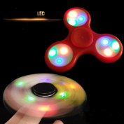 LED Light Tri Fidget Hand Spinner Toy,Stress Reducer Ultra Durable High Speed Ceramic Bearing Fidget Finger Toy Can Continue to Rotate for 1-3 minutes - Perfect for ADD / ADHD / Anxiety / Autism And Stress Relief Adult Children,Office Desk Gadget