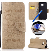 Samsung Galaxy S8 Plus Wallet Case,Samsung Galaxy S8 Plus Leather Case,Etsue Cute Funny Bear Quote Cool Leather Magnetic Bookstyle Strap Wallet Case Cover with Card Holder for Samsung Galaxy S8 Plus+Blue Stylus Pen+Bling Glitter Diamond Dust Plug(Colou ..