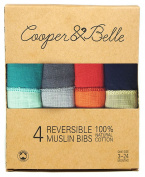 Cooper & Belle Baby Bandana Super Absorbent REVERSIBLE Drool Bibs 100% Cotton Muslin