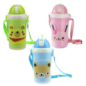 Jili Online Piece of 3Sippy Cup Straw 11oz/300ml Carry Strap PP Water Milk Drinking Bottle 3Colors