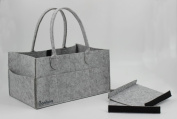Baby Nappy Caddy by Bonbino - Luxury Portable Nappy Storage Caddy with changeable compartments. For Home, Car & Nursery Organiser - Royal Grey