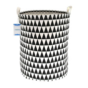 Jacone Stylish Triangle Pattern Design Storage Basket Cotton Fabric Cylindric Nursery Laundry Hamper with Handles,Decorative and Convenient,50cm by 40cm