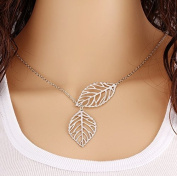 Electroplating Leaf Necklace Double Leaf Chain