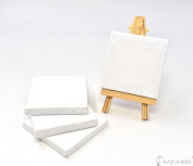 RayLineDo Set of 4pcs Mini Artist Blank Canvas Frame 3x3inch ( 7x7cm ) Oil Water Painting Board Flat Canvas with 1pc Mini Wood Display Easel