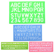 Life VC 4pcs Assorted Colours Plastic Letter and Alphabet Stencil Sets Drawing Drafting Template