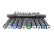 12 Colours Double-end Dual Tip Marker Pens with Fine and Chisel Point Alcohol Based Sketch Graphic Brush for Painting Colouring Highlighting Underlining
