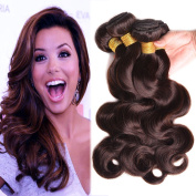 BlackRose Unprocessed Peruvian Virgin Dark Brown Wholesale Human Hair Bundles Deal Pack of 3 Body Wave Hair Weaves Pure Colour Chocolate Brown Wavy Hair Bundles