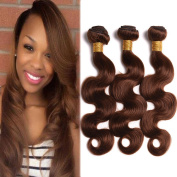 "BlackRose Hair Peruvian Medium Brown Body Wave Hair Extension 3 Bundles Virgin Human Hair Weaves Pure Colour 4#,10""12""14"""